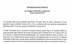 Dichiarazione comune  tra Confimi e FIM-CISL e UILM-UIL